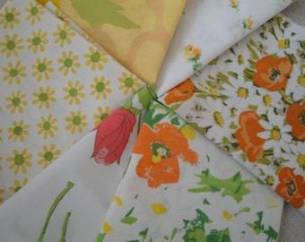 Six vintage sheet fat quarters, yellow and orange