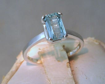 Aquamarine Ring, 0.75 Carat, Sterling Silver Ring, Octagon Cut Size 5