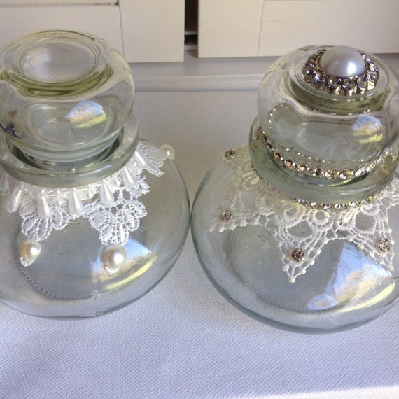 2 LACE JARS, Wedding, Celebration Table, Hostess Gift, Home Decor