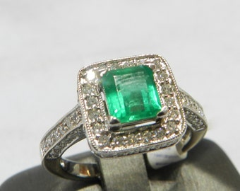 Emerald Ring 14K White Gold Emerald Ring Colombian Emerald Ring Unique Engagement Ring Diamond Emerald May Birthstone Antique