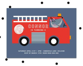 Fire engine party invite, Printable party invitation, boys first birthday party invitation, boys birthday invite, boys party invitation