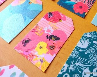 Handmade labels, set of 16, pink flamingo theme, flowers, tropics 3.2m x 5.5mm paper 200g / m2