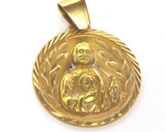 Vintage Jesus Medal - Round  Solid 18k Yellow Gold Christ Pendant - Weight 3.1 Grams - Religious - Christian - Catholic # 2094