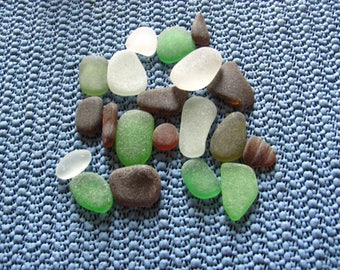 bulk sea glass pack containing 20 pieces of emerald green, white and brown genuine sea glass  beach glass