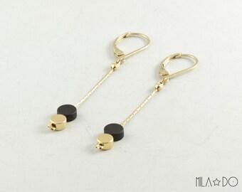 Dots earrings, gold and black || Geometric and minimalist modern earrings