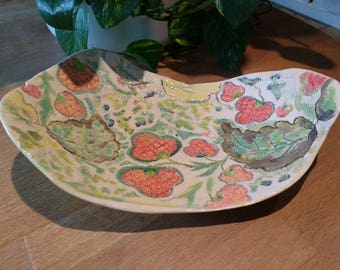 Fruit Bowl Serving Platter - Porcelain + Earthenware Pottery - Embossed and Hand painted Ceramic - Unique Wedding Gift Idea Made in UK