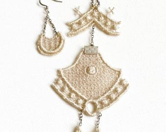 Beauty For Ashes II // Asymmetrical Lace Statement Earrings // Bridal Jewelry // Statement Jewelry // Accessories
