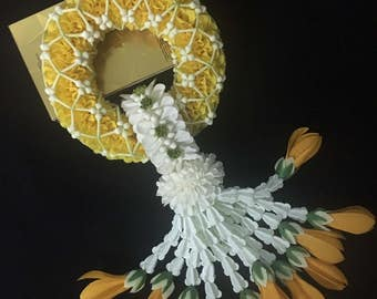 Thai Handmade Fabric Yellow Flower Garland