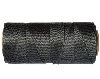 Waxed Cord, 15 meters/16 yards Macrame Cord, Linhasita COR 691, Jewelry Thread, Dream Catchers String - Dark Charcoal