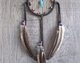 ON SALE Dream Catcher Dark Chocolate Brown Deerskin Leather with Rooster Feathers