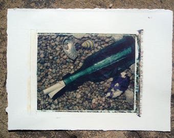 fine art photography original 4x5 polaroid transfer Message in a Bottle