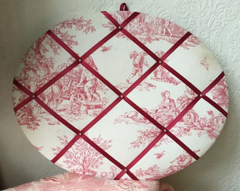 Shabby chic vintage pell mell with ribbon antique toile de Jouy French fabric reproduction copy girly Paris pink mademoiselle picture frame