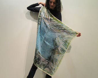 Hand-painted natural silk scarf sguare size 90 x 90 cm. [35 x35.in.] in blue, brown, gray, white, gray.
