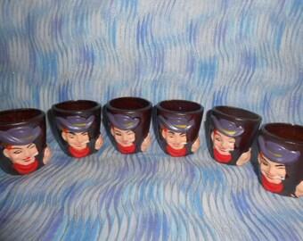 P.S.C. Smoking Cowboy Shot Glasses-Set Of Six-1960