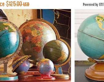 ON SALE Replogle, Simplified 8 Inch, World, Globe, Tin, c. 1947, World Globe, Vintage, Antique, Map, Blue, Machine Age, Mid Century Modern