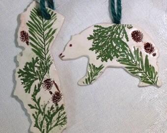 California Botanical Ornament, Grizzly Bear Ornaments, Ceramic California State Ornament, Ceramic California Coast, California Botanicals