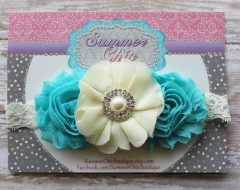 Ivory and Aqua Baby Headband, Infant Headband, Newborn Headband, Headband - Shabby Chic Headband Ivory and Aqua, Easter Headband