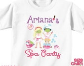 SALE Personalized Spa Party T-shirt Bodysuit Girl Spa Birthday Party Shirt Spa Party Favors