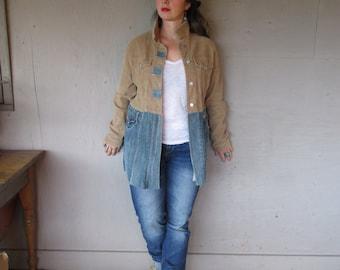 upcycled corduroy jean jacket denim clothing Funky coat Boro inspired jacket L X Large Eco Boho artsy jacket street style LillieNoraDryGoods