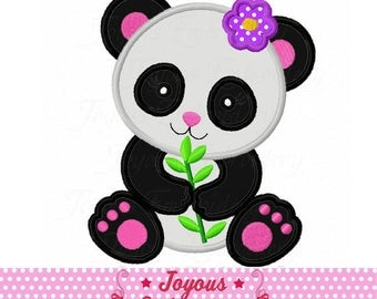 Instant Download Girl panda Applique Machine Embroidery Design NO:2312