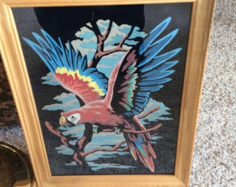 Vintage Parrot Macaw Paint By Number Picture on Velvet