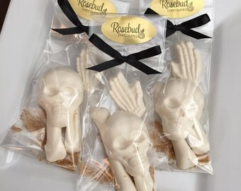 8 Chocolate Bag of Bones Party Favors Halloween Candy Treats Skull Skeleton Hand