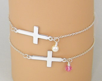 Sterling Silver Cross Bracelet, Silver Birthstone Bracelet, Sideways Cross Bracelet, Crystal Pearl Charm Bracelet |BB1-19