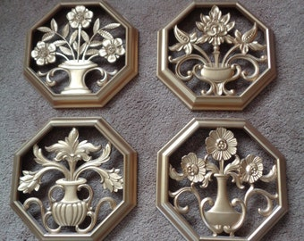 Vintage Set of 4 Syroco Octagon Shaped Wall Hangings