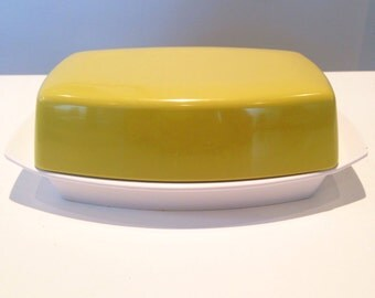 REDUCED Vintage Green Gaydon Melmex Melamine Butter Dish