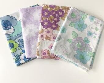 4 Vintage Fabric Fat Quarter Bundle in Blue and Purples