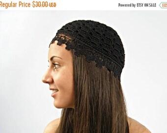 ON SALE Black Cotton Beanie, Flower Lace Crochet hat - Black summer beanie hat-women CROCHET Cap/ hats, skull caps/chemo skullcap/fashionabl