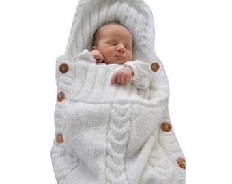 Newborn Baby Wrap Swaddle Blanket, Baby Kids Toddler Wool Knit Blanket Swaddle Sleeping Bag Sleep Sack Stroller Wrap for 0-12 Month (White)