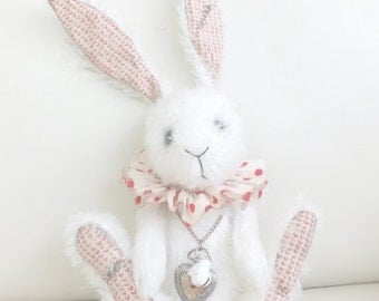 Mohair Wonderland White Rabbit - Vintage-Style distressed and aged - handmade - cuddly - MADE TO ORDER