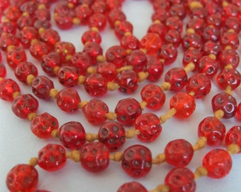 red glass bead necklace vintage 50s 56 inches knotted