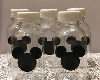 12- Mickey Mouse 8 oz Vinyl Plastice Milk Bottles with Lids