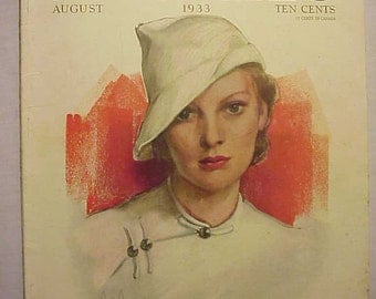 August 1933 McCall's Magazine with the cover By McMein , has 88 pages of ads and articles, Vintage Woman's Magazine