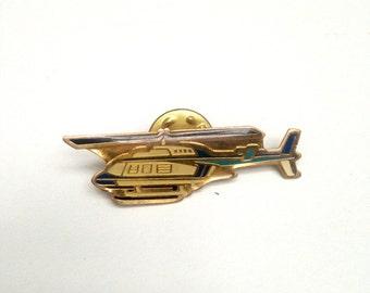 Vintage enamel pin badge Helicoptor aircraft transport pin