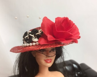 Red Rose, Black and White Tea Party Straw Hat for your Barbie Doll