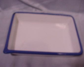 Porcelain Metal Photo Tray Small, White w/ Blue Rim- ACID Resistant CESCO