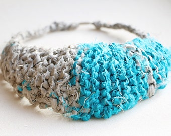 Bib Necklace, Blue Necklace, Upcycled Recycled Repurposed Jewelry, Textile Necklace, Silk Jewelry, Blue Jewelry, Recycled Silk Sari Ribbon