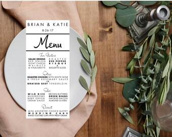 "Modern Wedding Menus, Menu Cards, 4""x9"" Elegant Typography Wedding Menus Printed for You"
