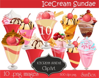 Chocolate Vanilla  Strawberry Raspberry Mint Latte Ice Cream Sundae  10 Images for cards, scrapbooking  instant download  Ice Cream Clipart