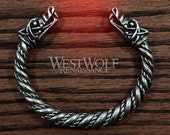 Large Silver Viking Wolf Head Bracelet/Torc - Norse Mythology Fenrir Wolves Bracelet