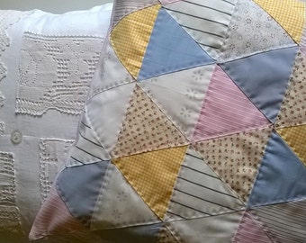 Triangles Hand Quilted Cushion Cover
