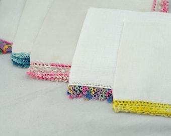 Five Crochet Edge Vintage Hankies  (P8)