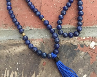 108 Bead Lapis Lazuli Mala with Ethiopian Brass Accents