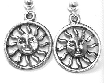 Pewter Smiling Sun Charms on Sterling Silver 4mm Ball Post Stud Earrings - 0551