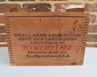 Winchester Small Arms Ammunition Shot Gun Cartridges Wood Crate