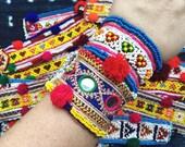 Pali Bracelet Afghani beaded pom pom cuff bracelet
