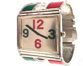 Vintage Bill Blass Bracelet Watch, Manual Wind Ladies Watch, Retro, Red, Green, Silver, Wide, Chunky